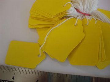 100 YELLOW JEWELLERY TAGS STRUNG WHITE TAGS PRICE TAGS SWING TAGS = 27mm x 43mm